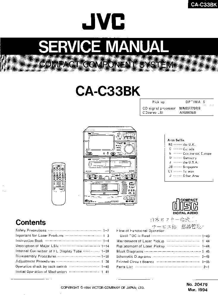 JVC CA-C33BK SM Service Manual download, schematics