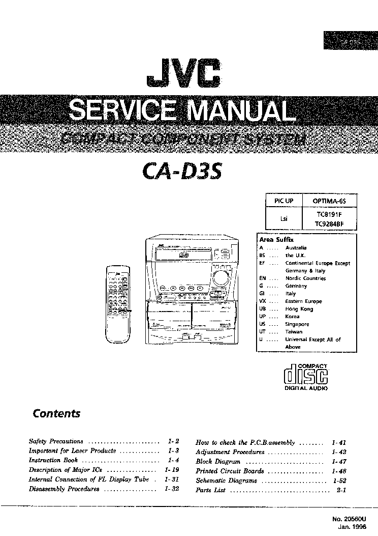 JVC CA-D3S Service Manual download, schematics, eeprom