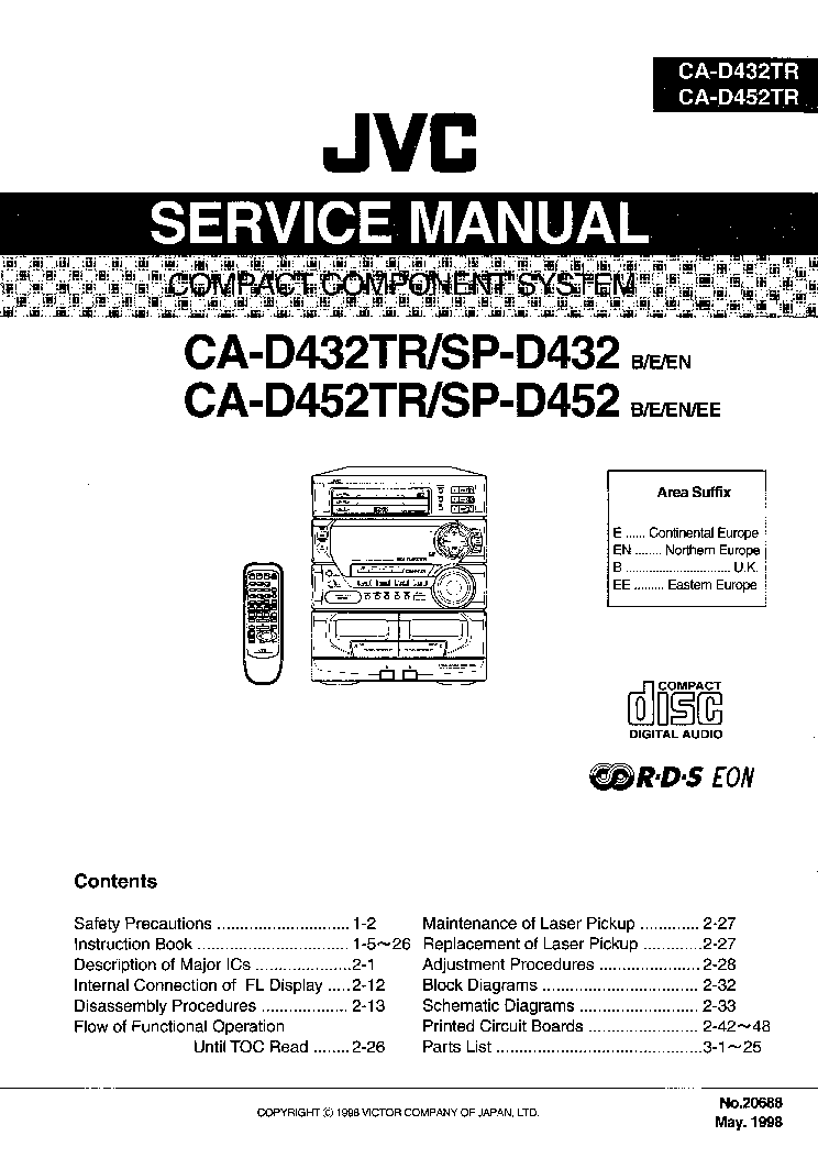 JVC CA-D432TR D452TR Service Manual download, schematics