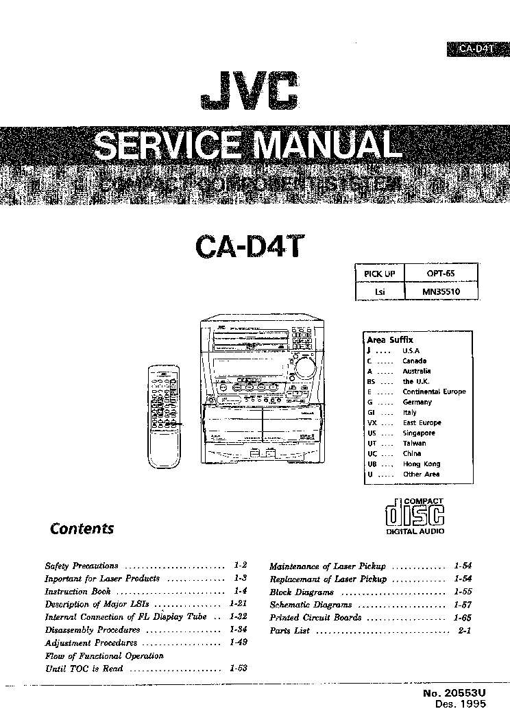 JVC CA-D4T Service Manual download, schematics, eeprom