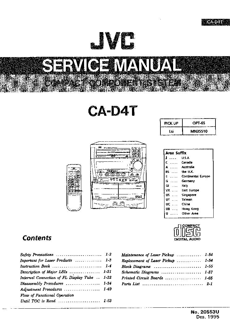 JVC CA-D4T SM Service Manual download, schematics, eeprom