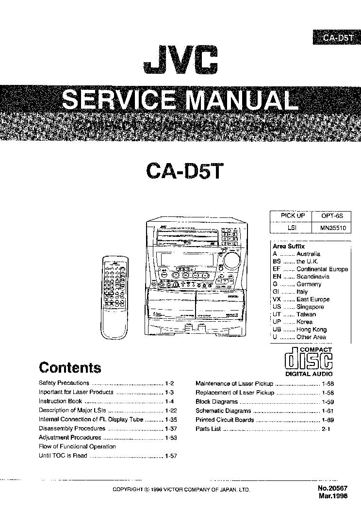 JVC CA-D5T-AUDIO Service Manual download, schematics