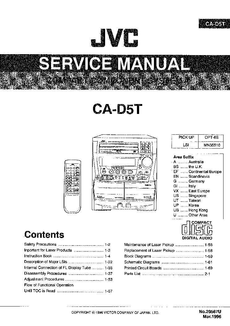 JVC CA-D5T Service Manual download, schematics, eeprom
