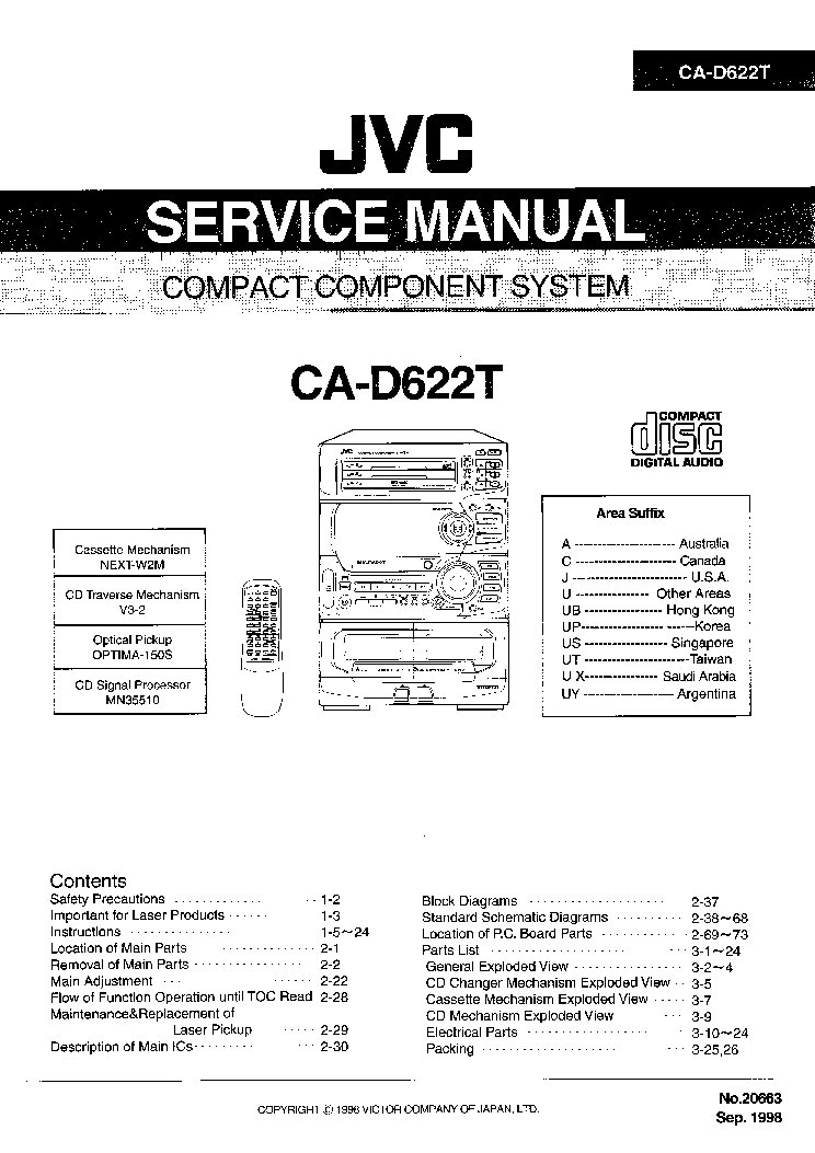 JVC CA-D622T Service Manual download, schematics, eeprom