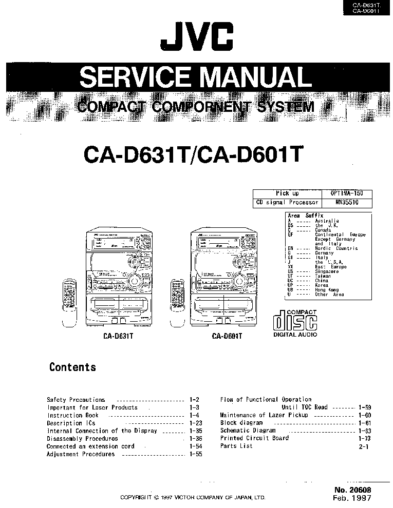JVC JA-S77 Service Manual download, schematics, eeprom