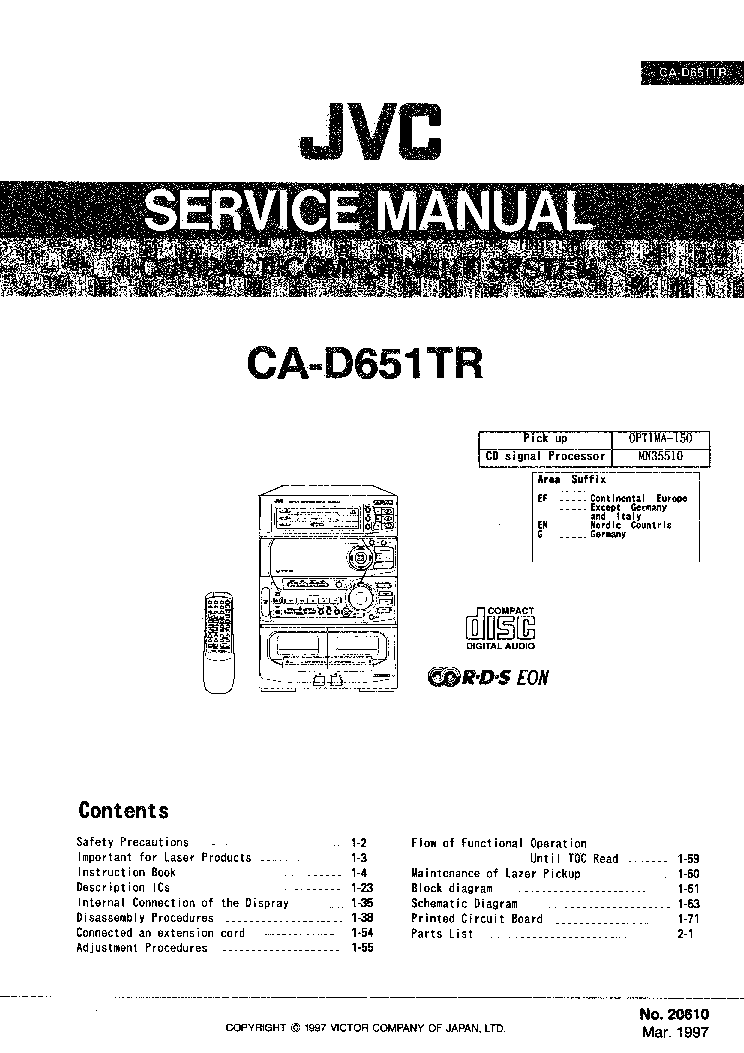 JVC CA-D651TR Service Manual download, schematics, eeprom