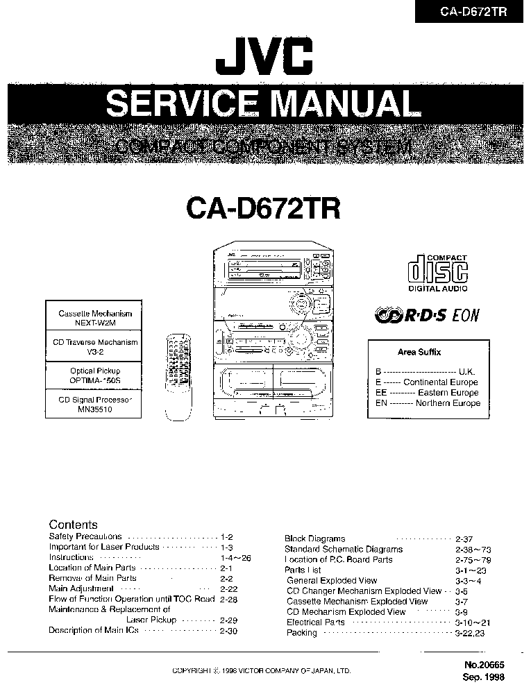 JVC CA-D672TR Service Manual download, schematics, eeprom