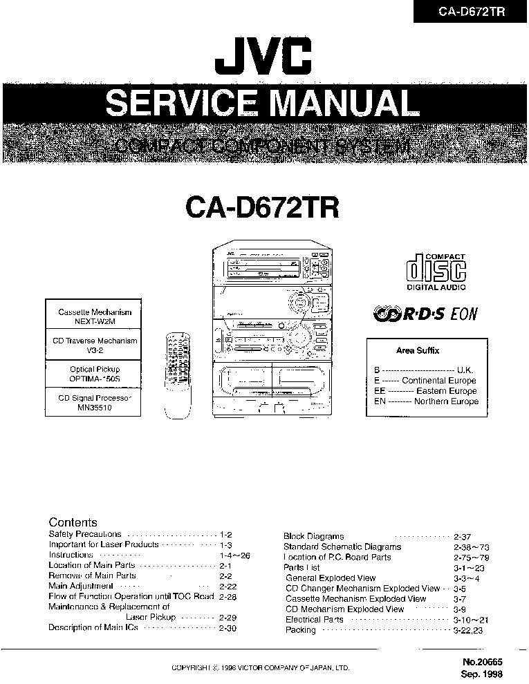 JVC CA-D672TR SM Service Manual download, schematics