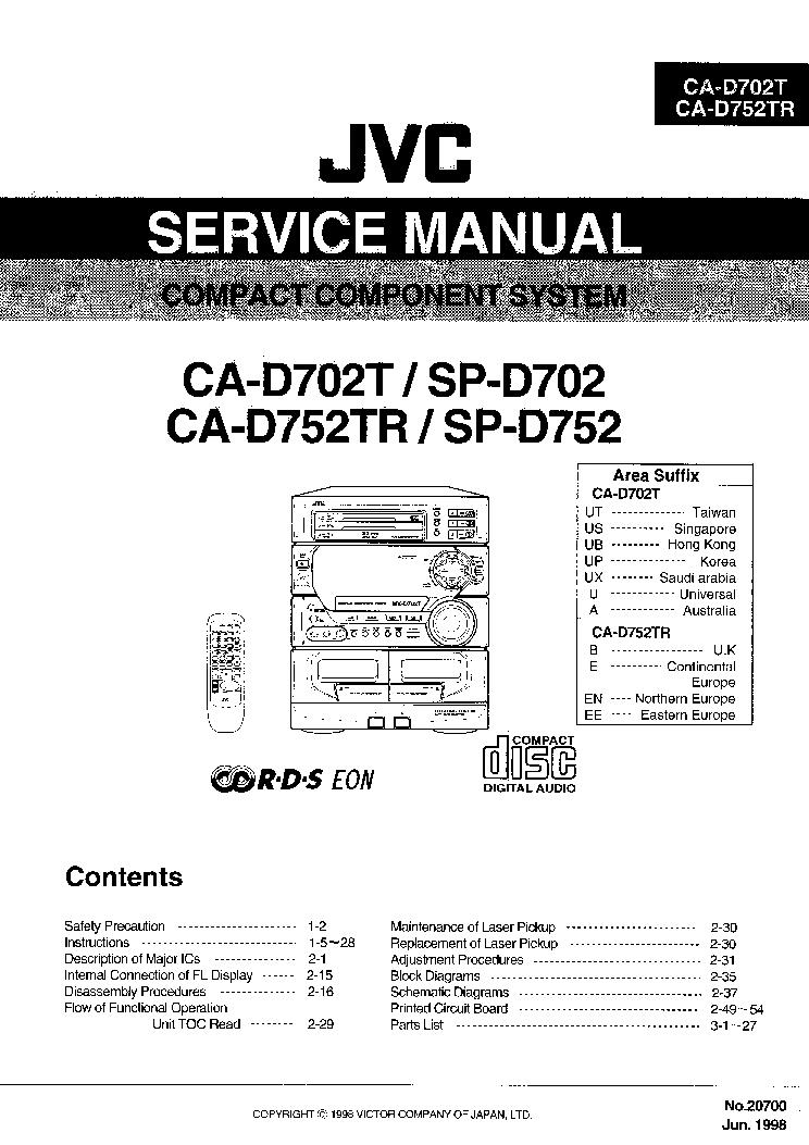 JVC CA-D702T,SP-D702,CA-D752TR,SP-D752 Service Manual