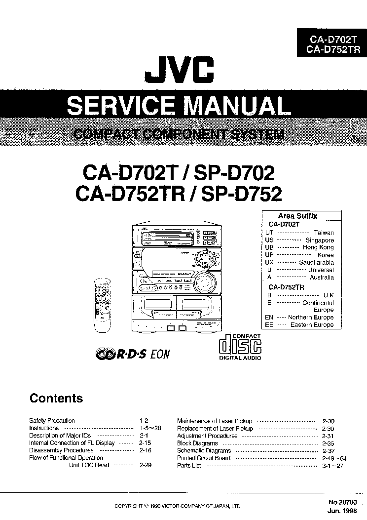 JVC CA-D702T-AUDIO Service Manual download, schematics