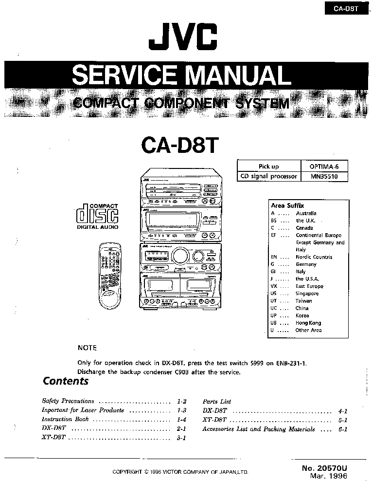 JVC CA-D8T SM Service Manual download, schematics, eeprom