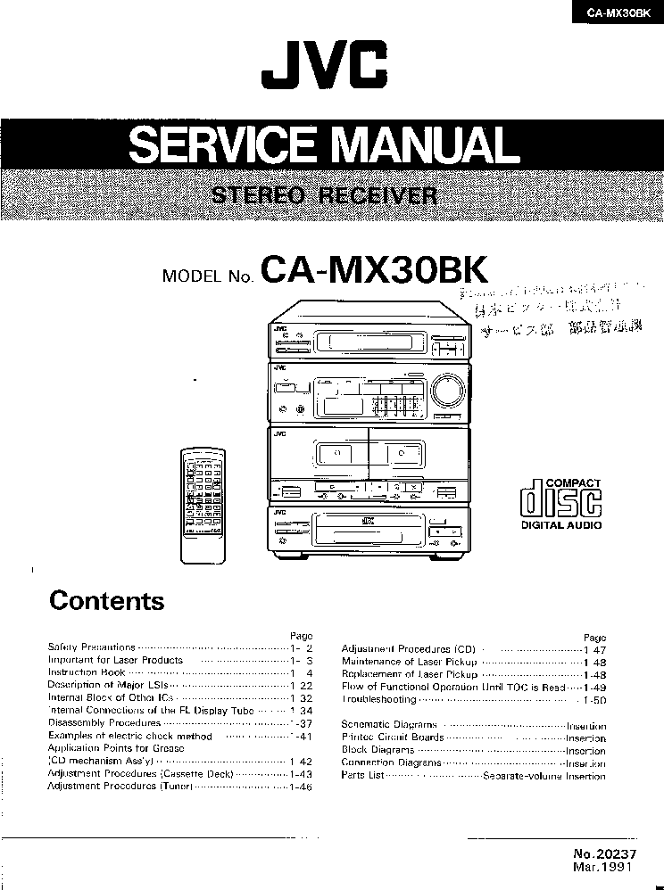 JVC RX-ES1SL PARTS LIST Service Manual free download