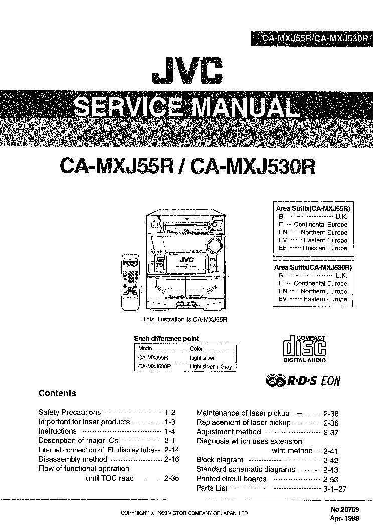 JVC CA-MXJ55R MXJ530R SM Service Manual download
