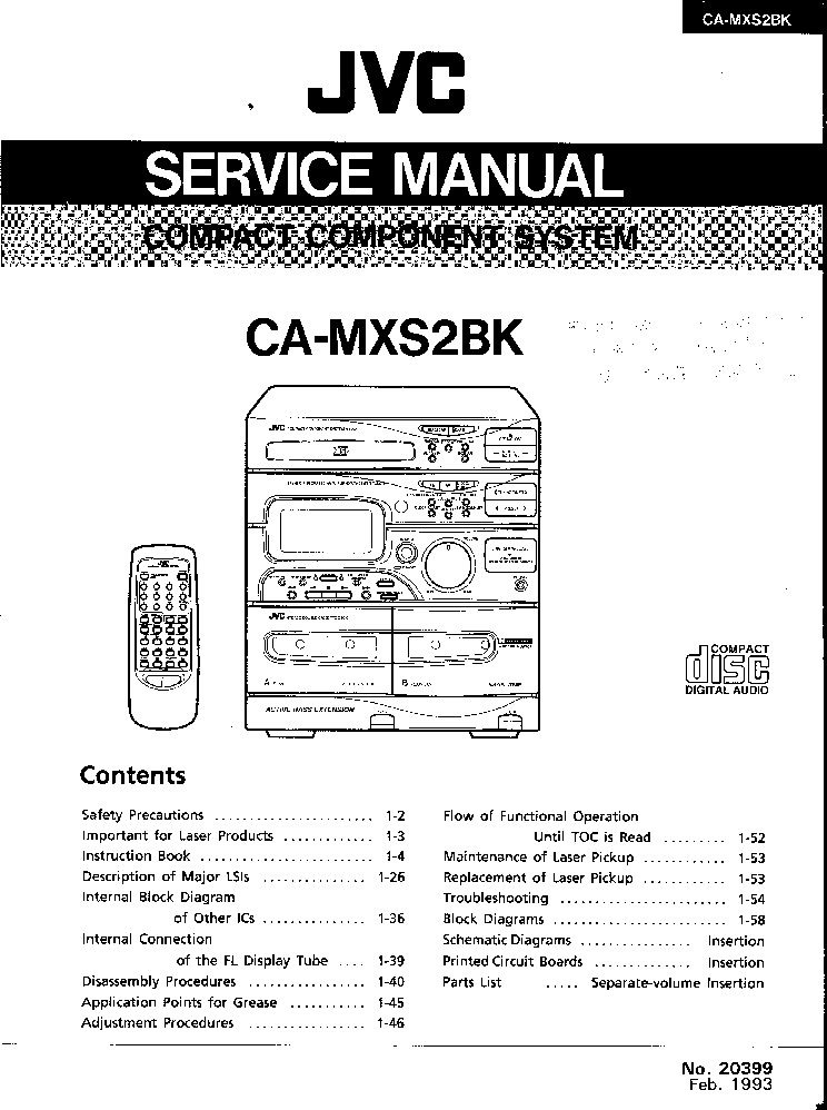 JVC CA-MXS2BK Service Manual download, schematics, eeprom