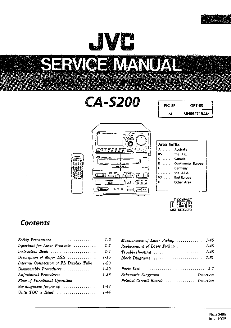 JVC CA-S200 MX-S200 SM Service Manual download, schematics