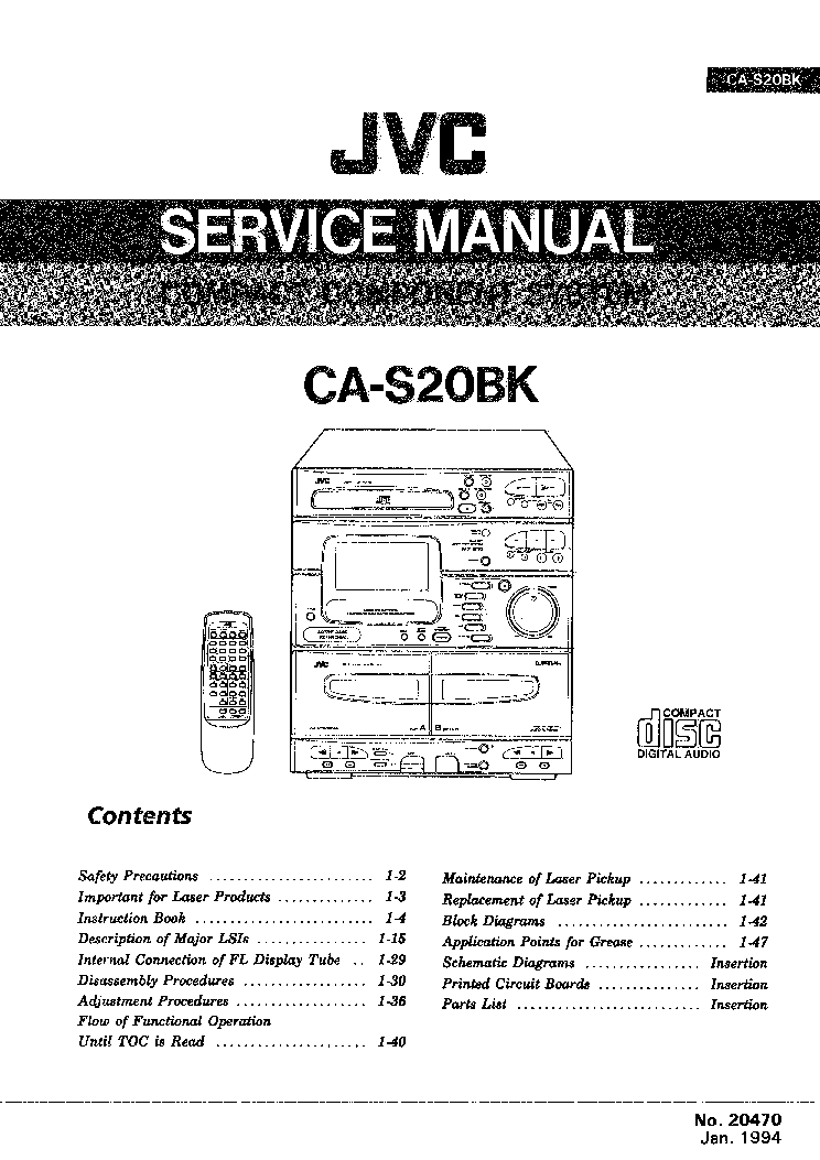 JVC CA-S20BK FULL Service Manual download, schematics