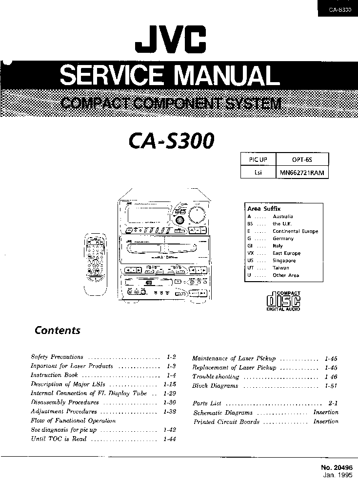 JVC CA-S300 Service Manual download, schematics, eeprom