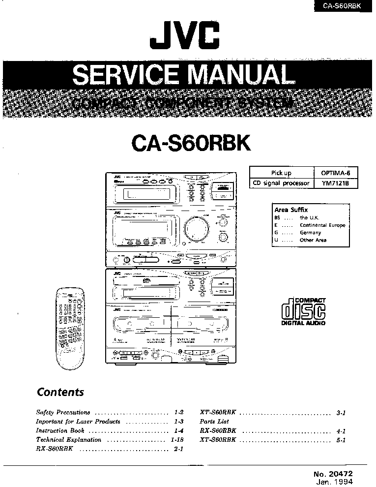 JVC CA-S60RBK Service Manual download, schematics, eeprom