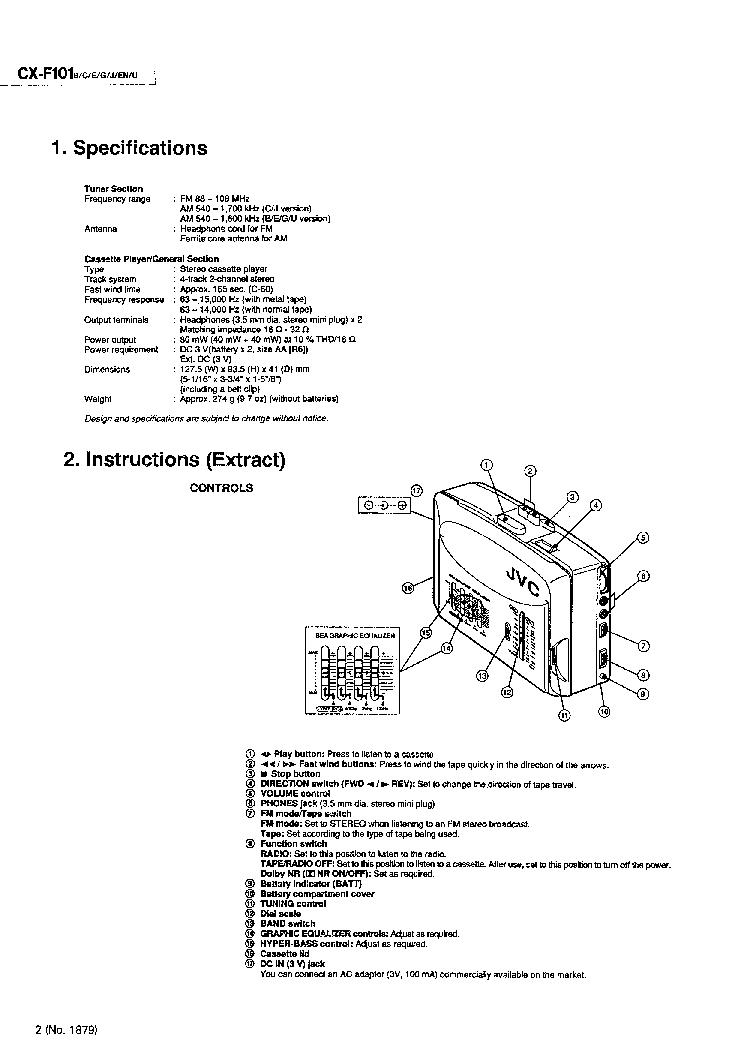 JVC CCX-F101 Service Manual download, schematics, eeprom