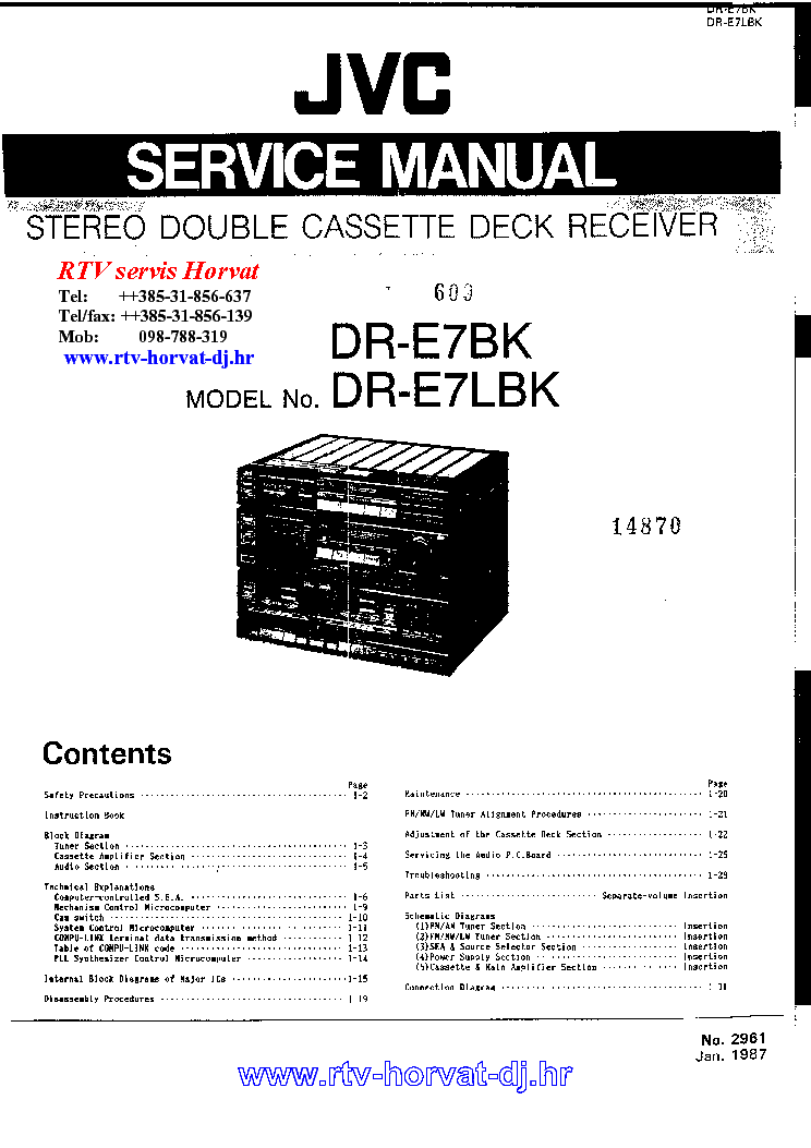 JVC DRE7BK-LBK SM Service Manual download, schematics