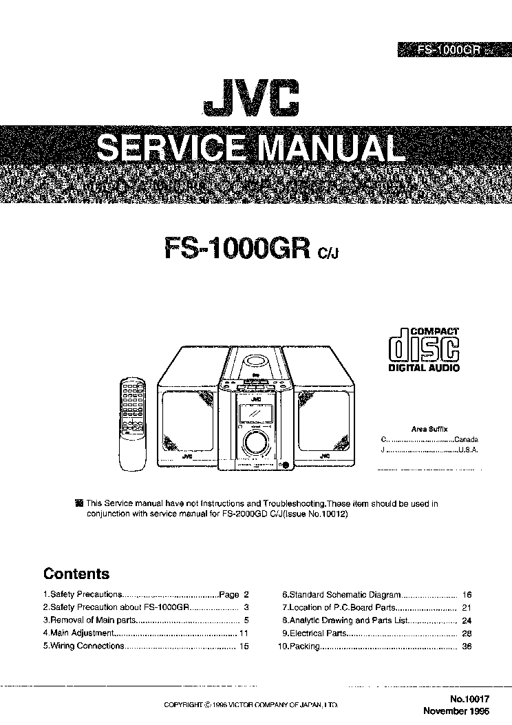 JVC FS-1000 Service Manual download, schematics, eeprom