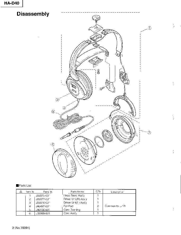 JVC HA-D40 Service Manual download, schematics, eeprom