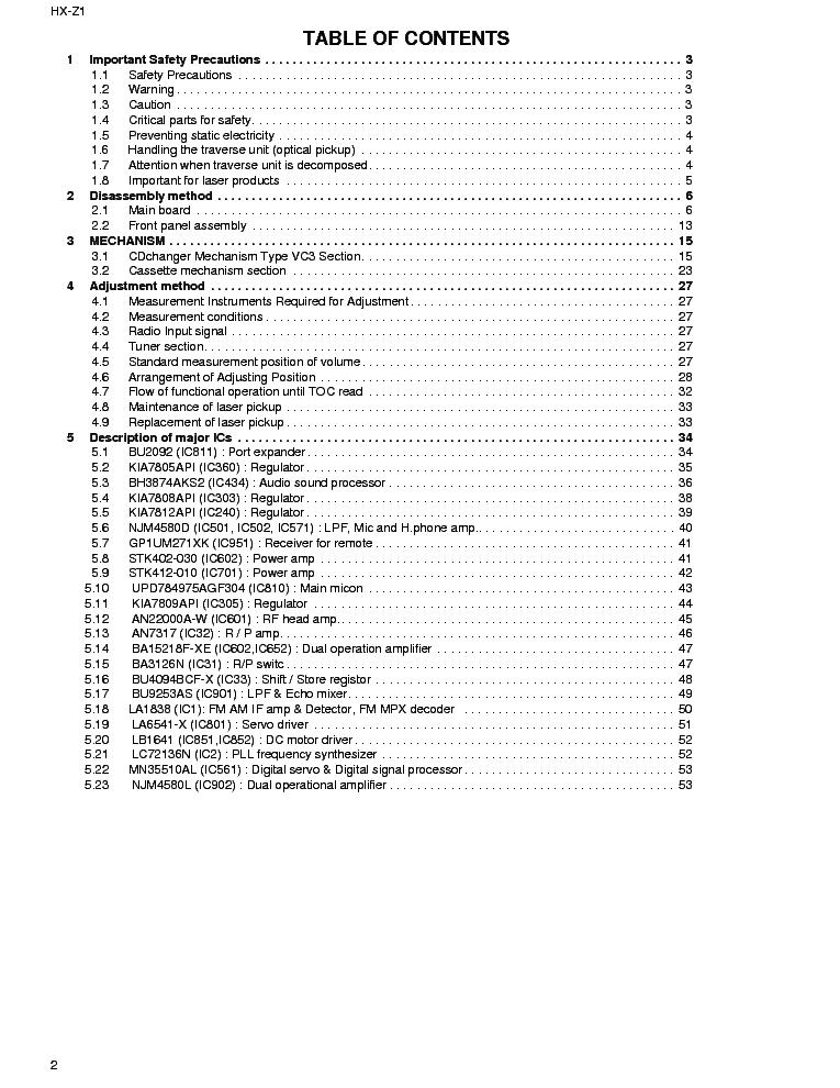 JVC HX-Z1 COMPACT SM Service Manual download, schematics