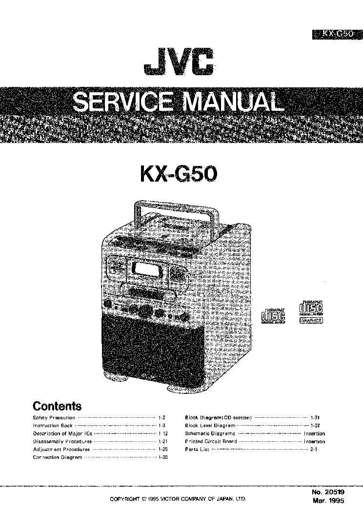 JVC KX-G50 Service Manual download, schematics, eeprom