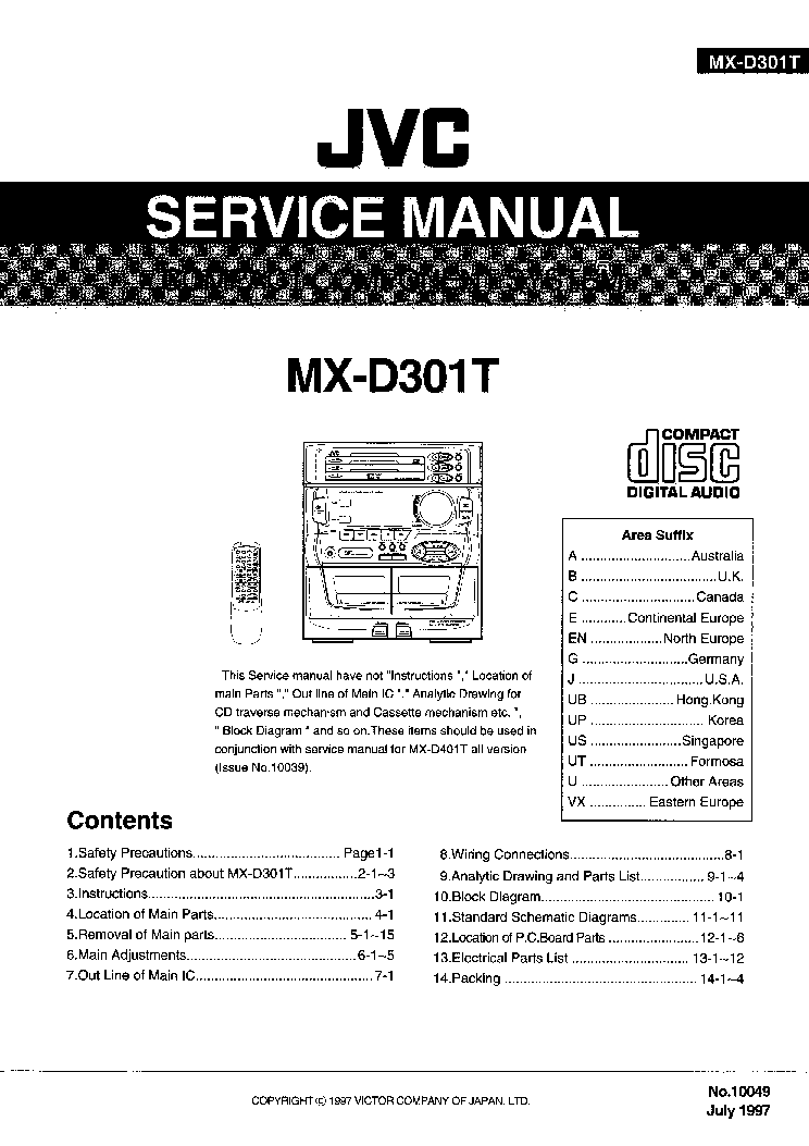 JVC MX-D301T D401T Service Manual download, schematics