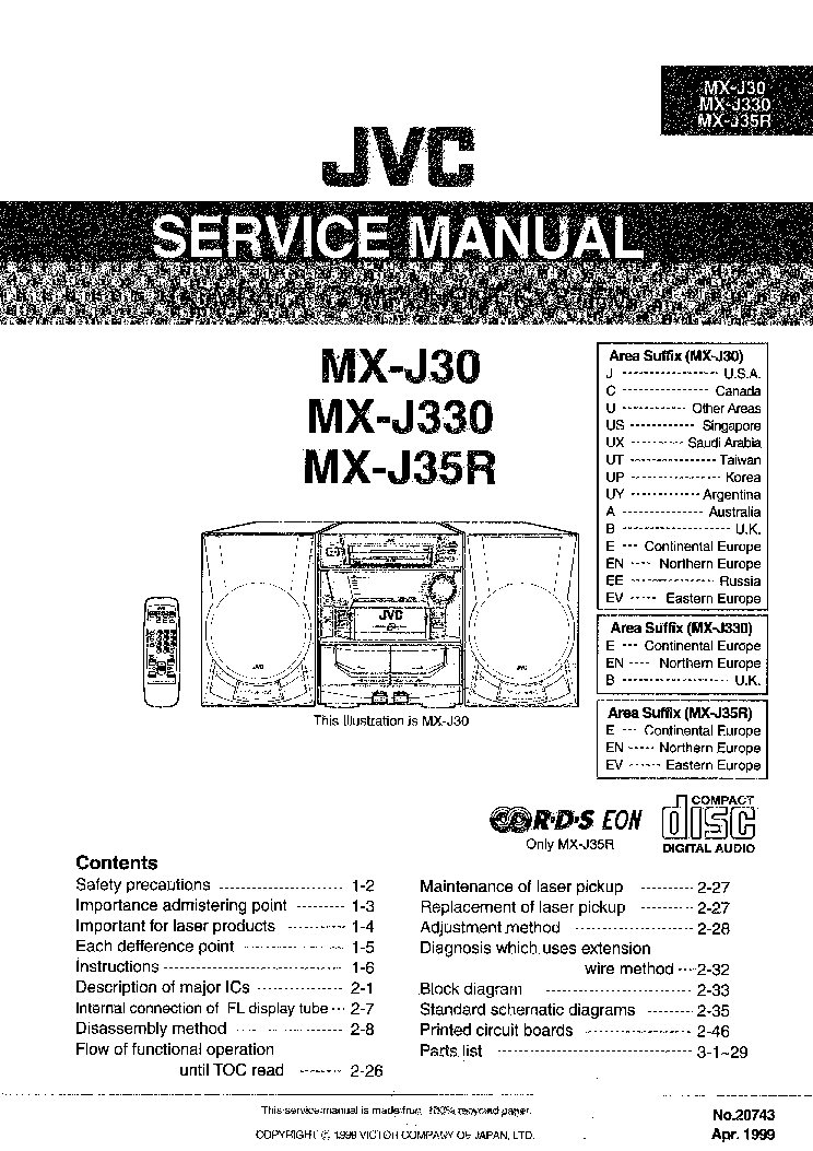 JVC MX-J30 MX-J330 MX-J35R Service Manual download