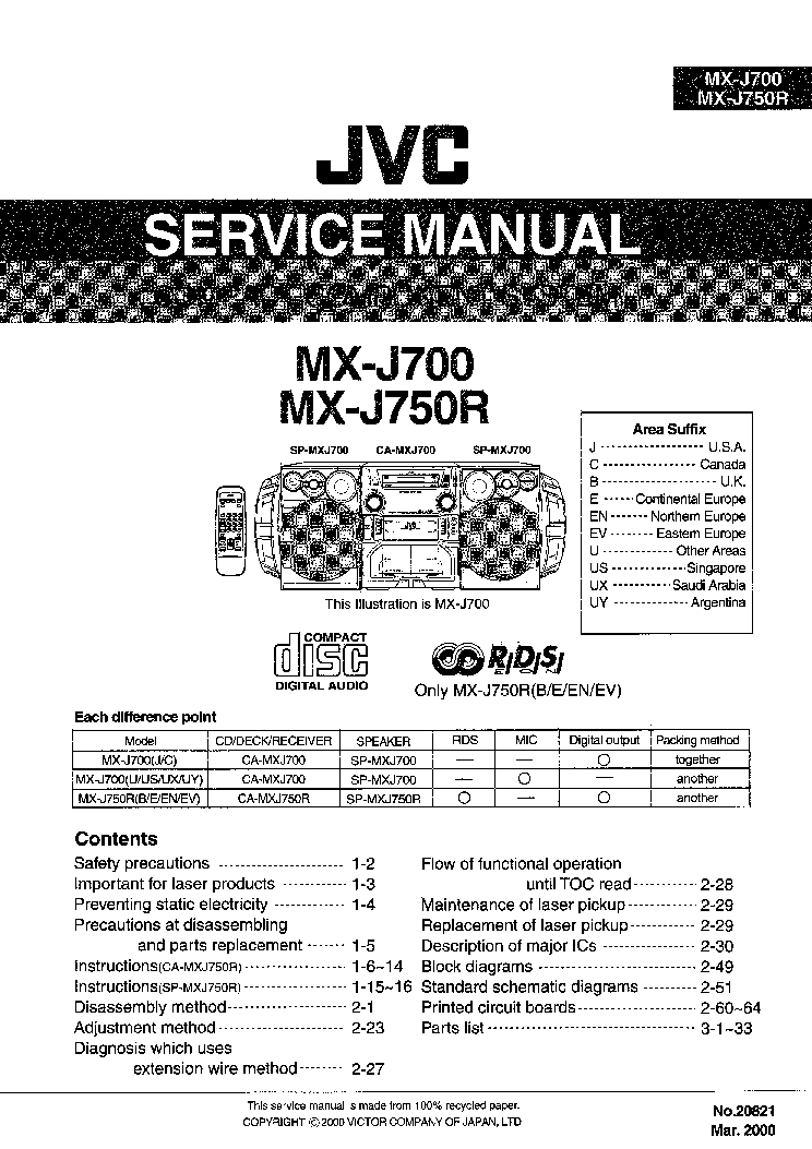 JVC MX-J700 J750R Service Manual download, schematics