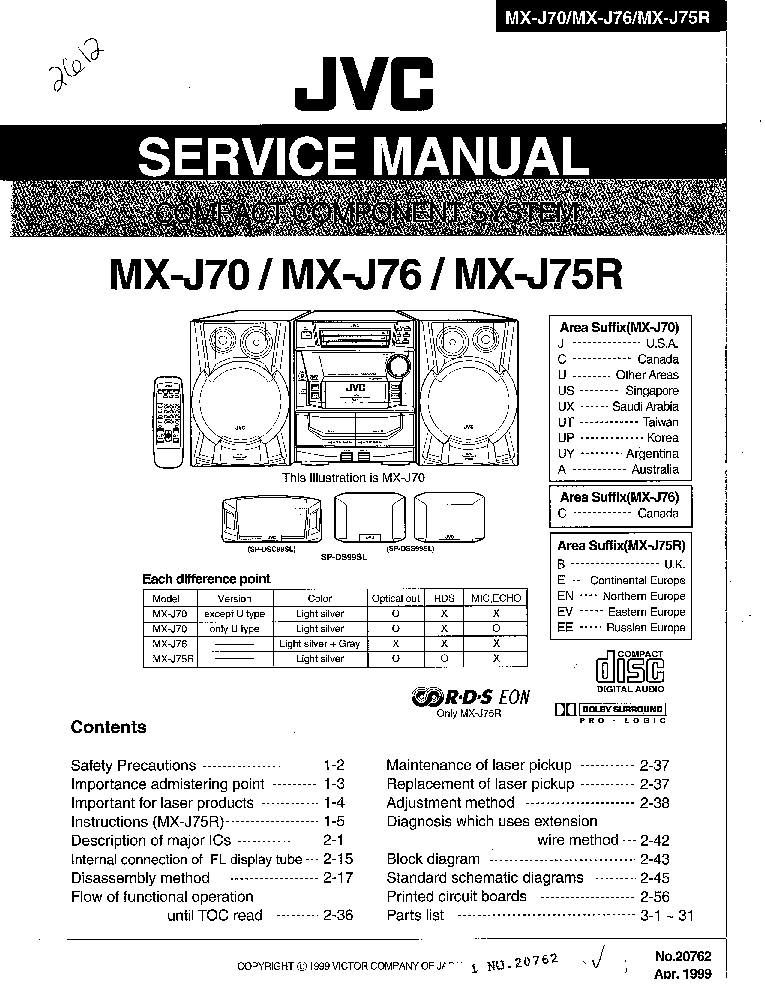 JVC CA-MX77MTN COMPACT COMPONENT SYSTEM Service Manual