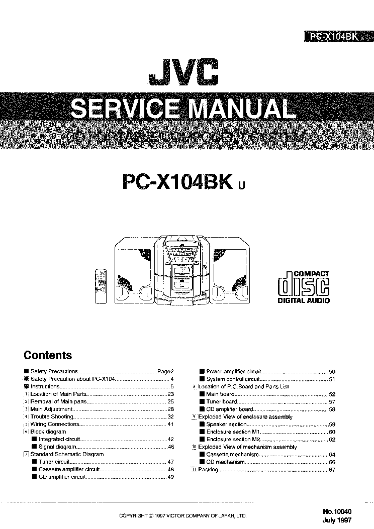JVC PC-X104BK Service Manual download, schematics, eeprom