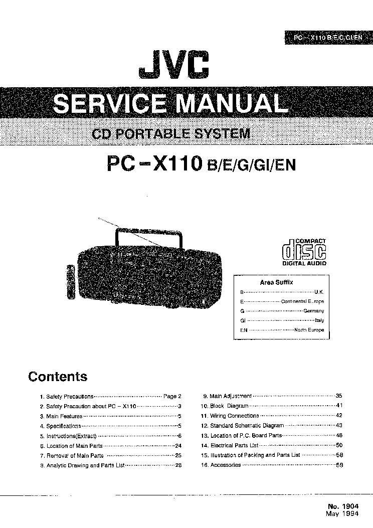 JVC PC-X110 Service Manual download, schematics, eeprom