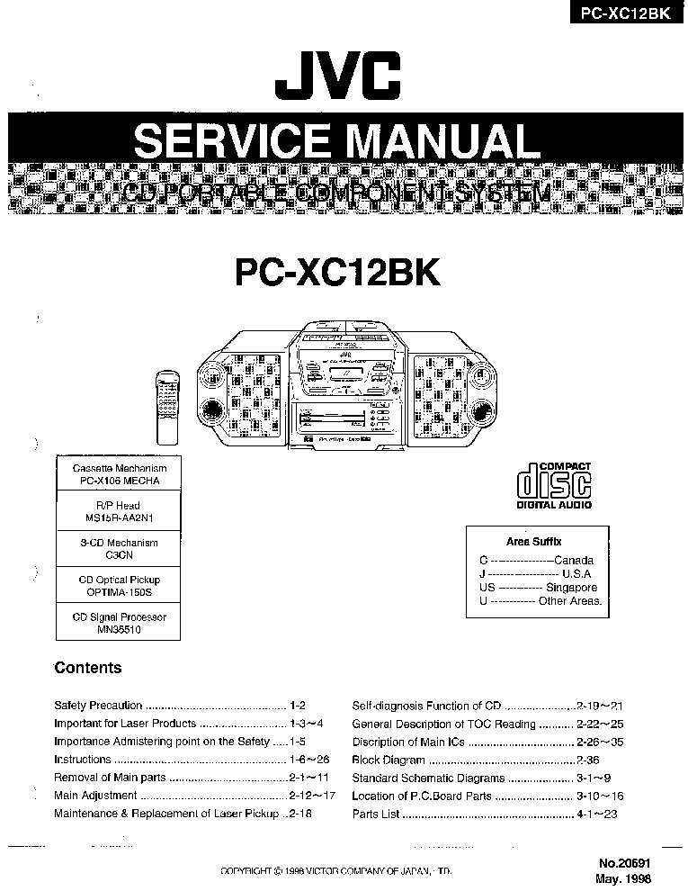 JVC PC-XC12BK SM Service Manual download, schematics