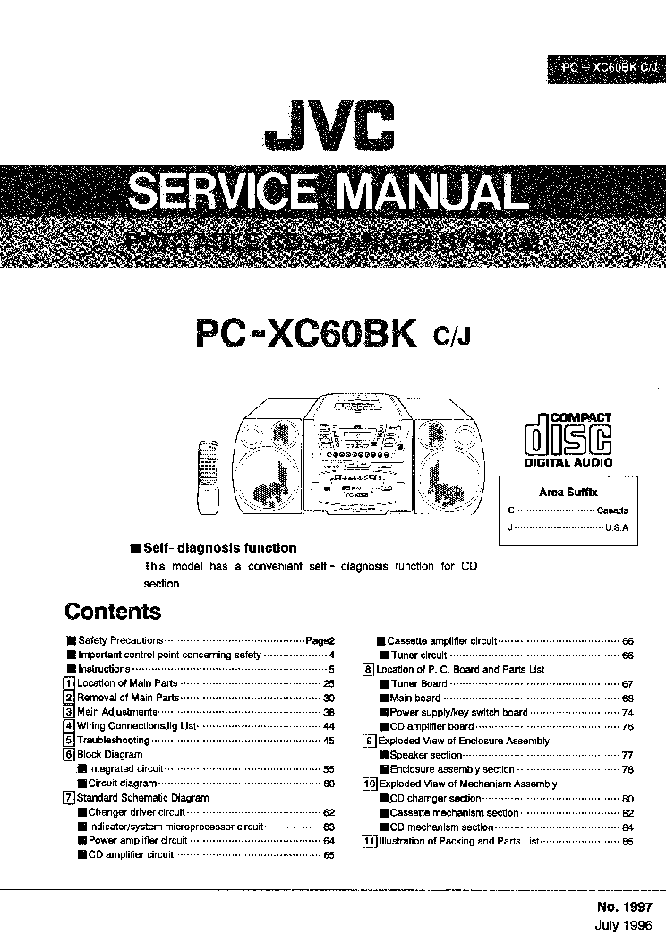 JVC PC-XC60BK Service Manual download, schematics, eeprom