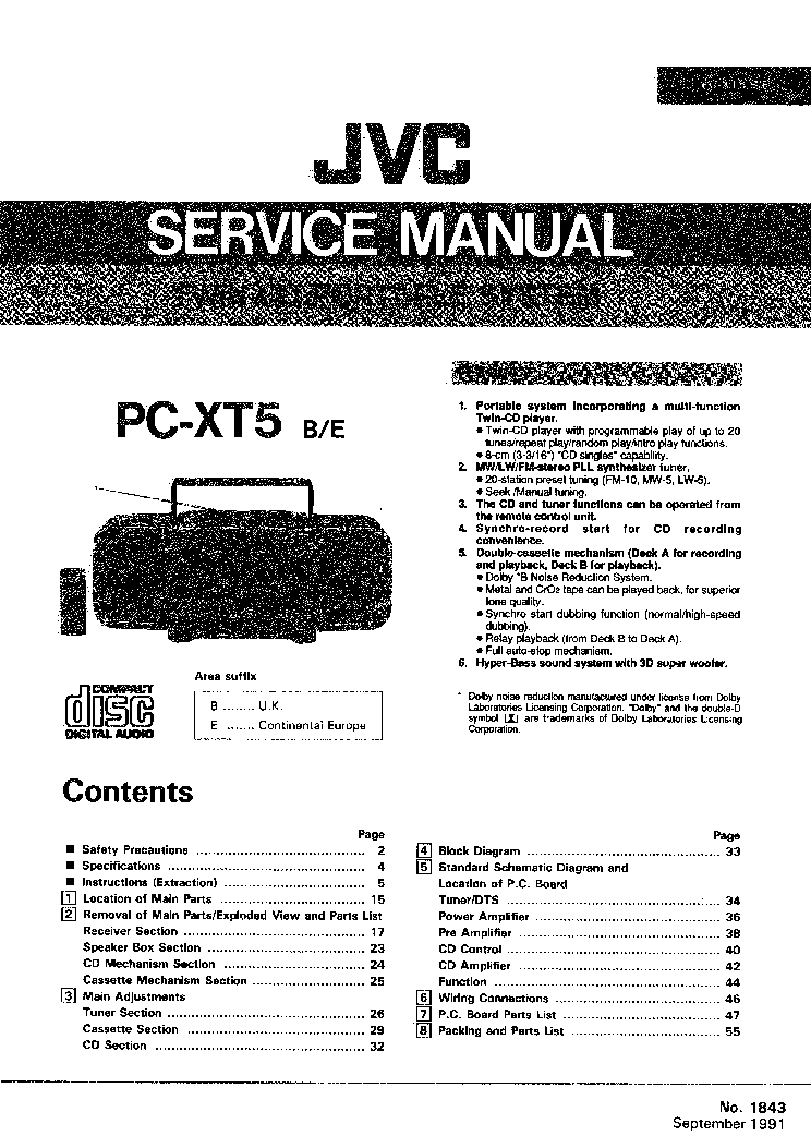 JVC UX A5 SERIES Service Manual free download, schematics
