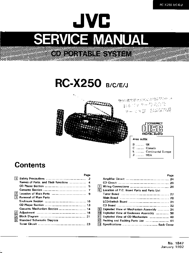 JVC RC-X250 SM Service Manual download, schematics, eeprom