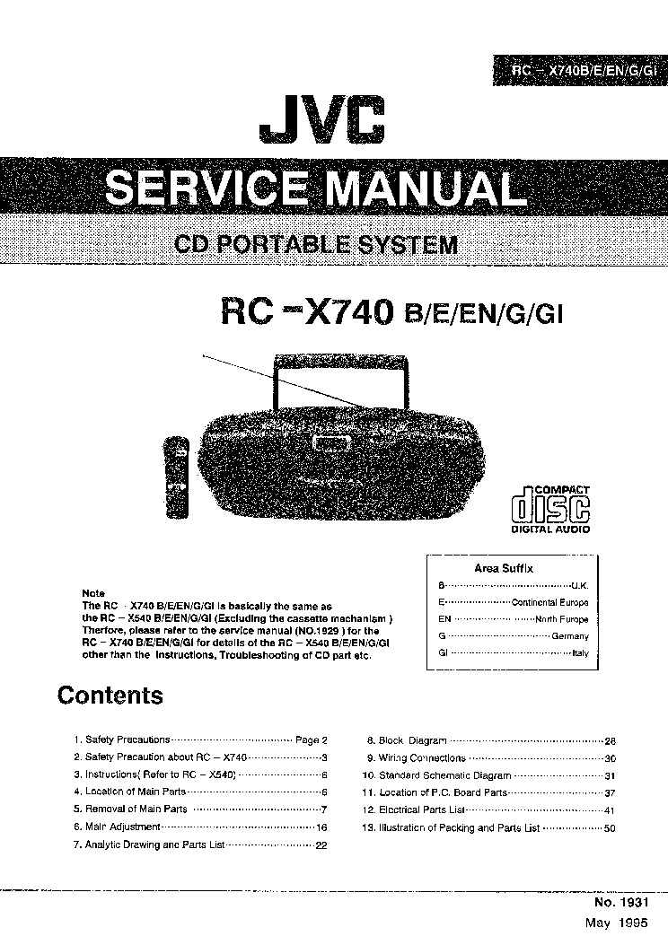 JVC RC-X740 Service Manual download, schematics, eeprom