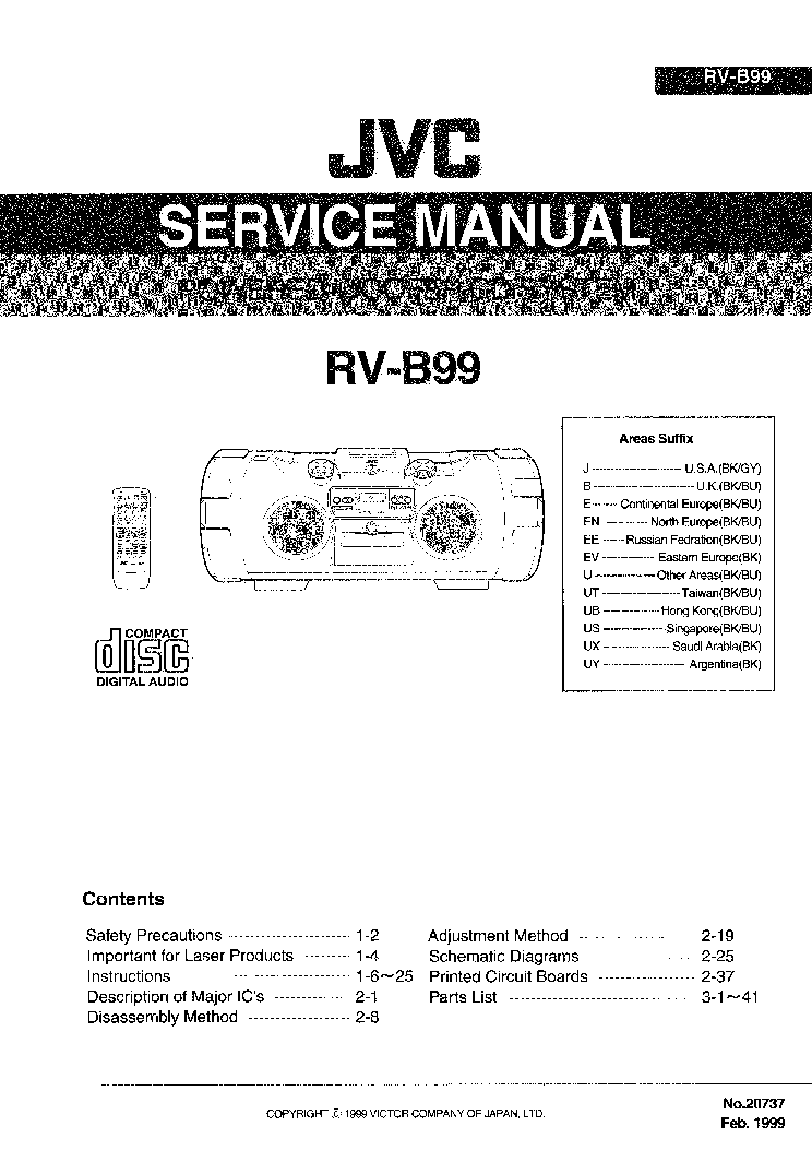 JVC AX 211BK Service Manual download, schematics, eeprom