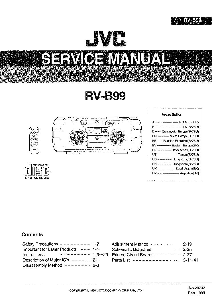 JVC RV-B99 Service Manual download, schematics, eeprom
