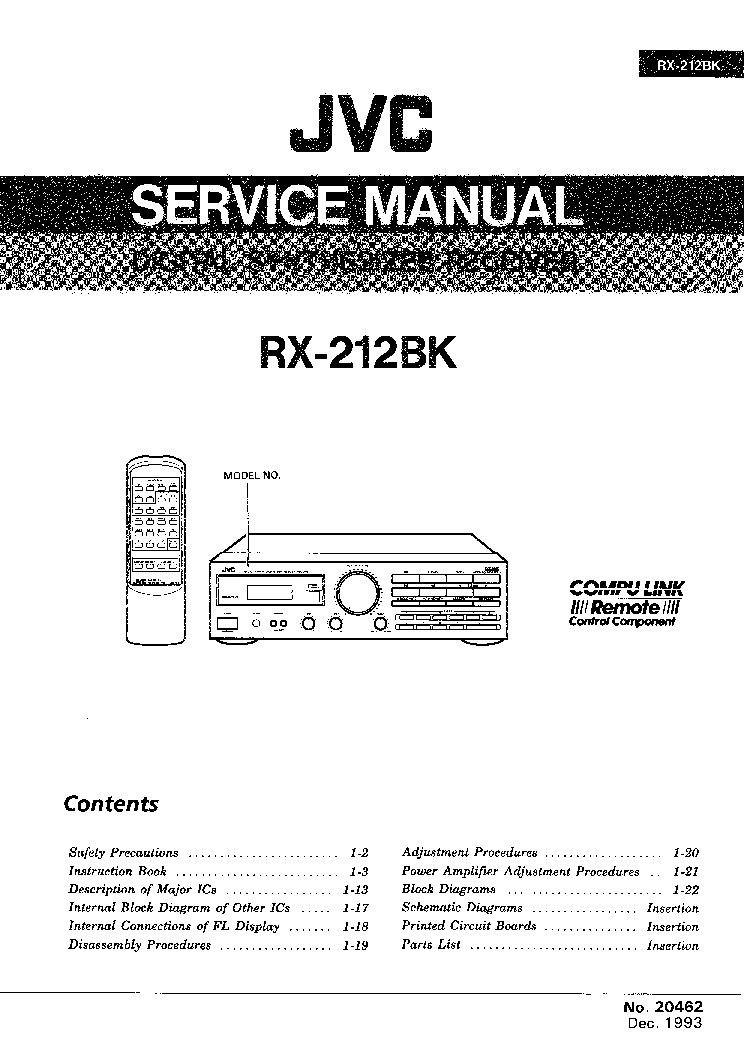 JVC RX-212BK Service Manual download, schematics, eeprom