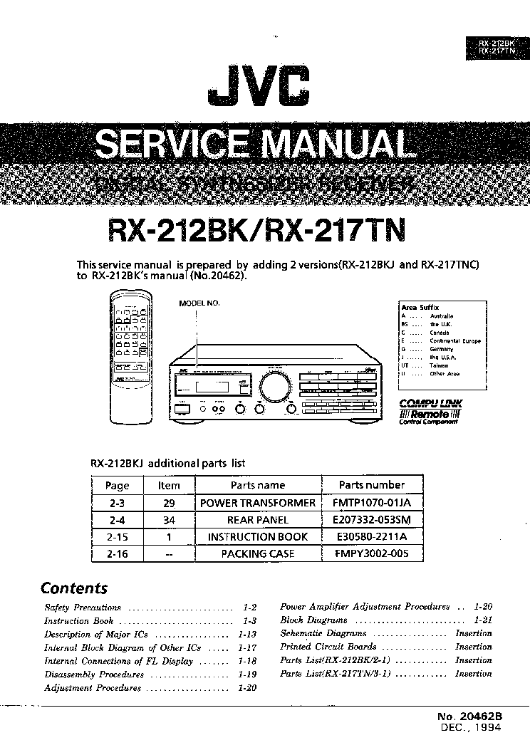 JVC RX-217TN Service Manual download, schematics, eeprom
