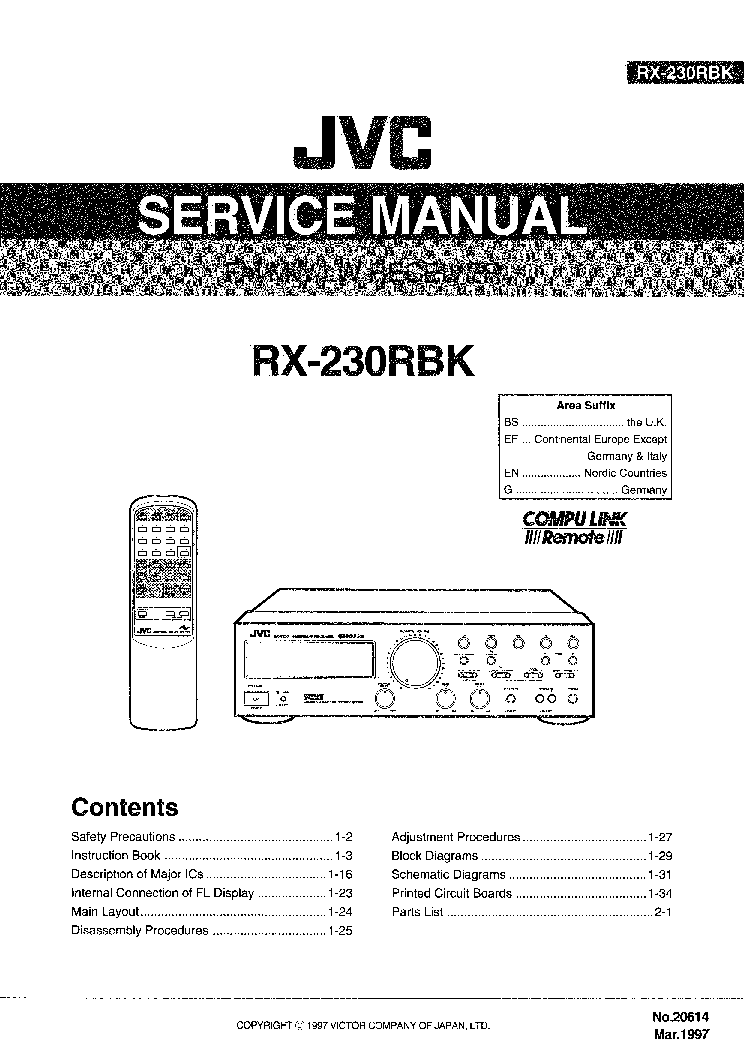 JVC RX-230RBK SM Service Manual download, schematics
