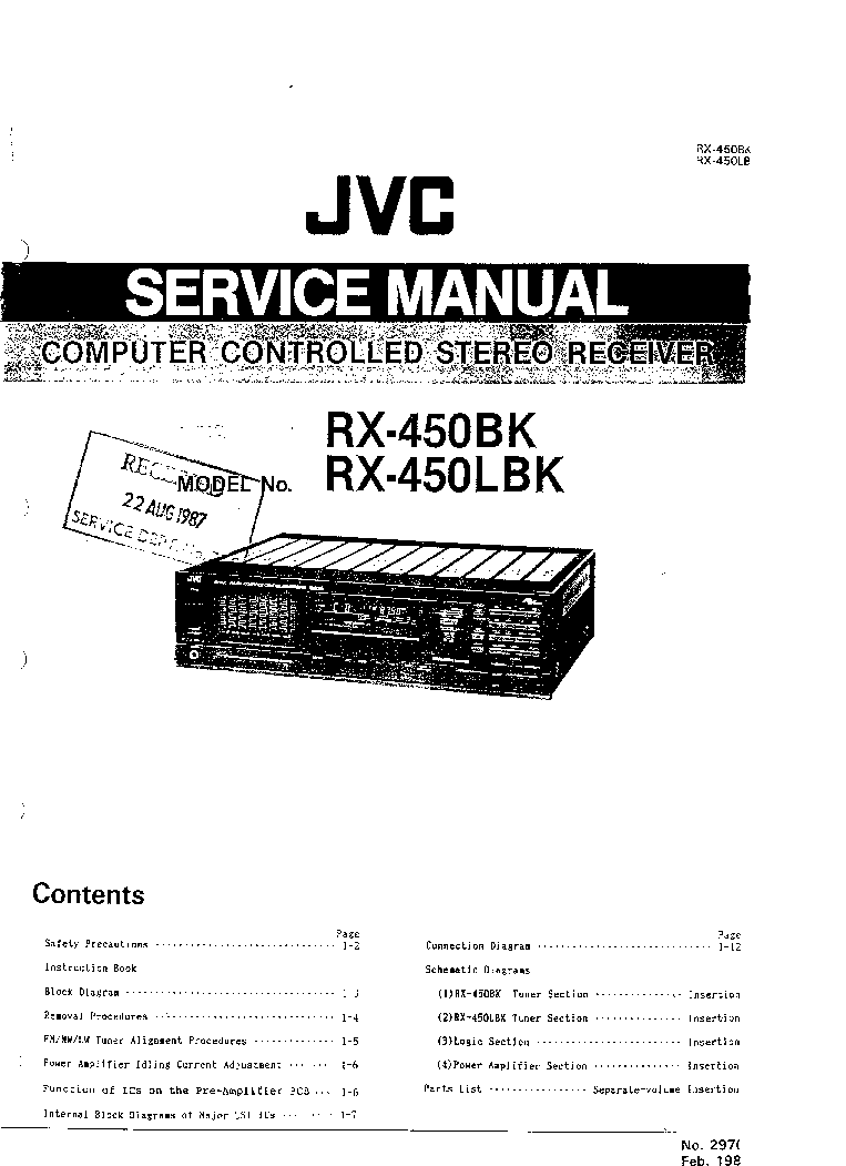 JVC RX-450BK 450LBK SM Service Manual download, schematics