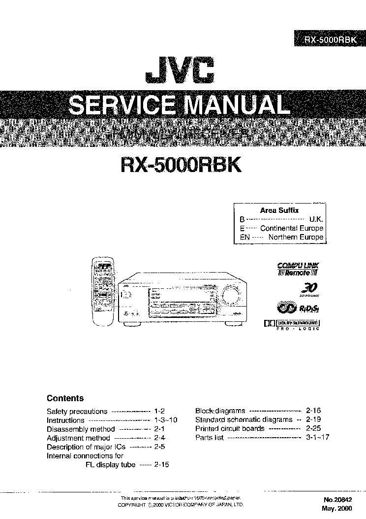 JVC RX-5000RBK Service Manual download, schematics, eeprom