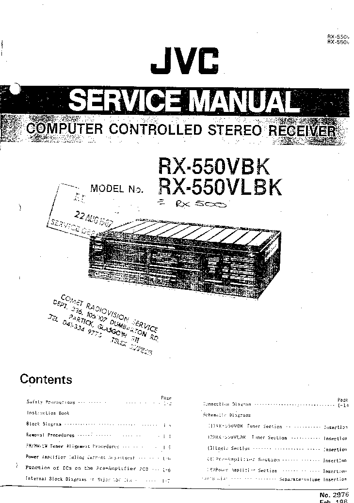 JVC RX-500 RX-550 VBK VLBK SM Service Manual download