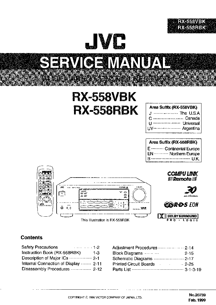 JVC RX-430-VBK SM Service Manual free download, schematics