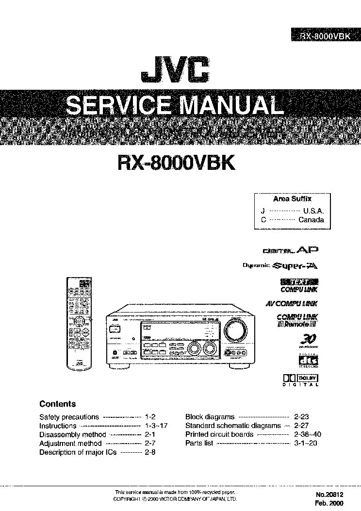 JVC RX-8000VBK Service Manual download, schematics, eeprom