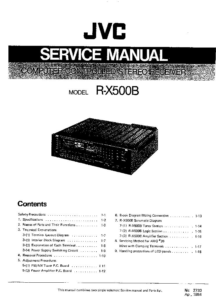 JVC RX500B SM Service Manual download, schematics, eeprom